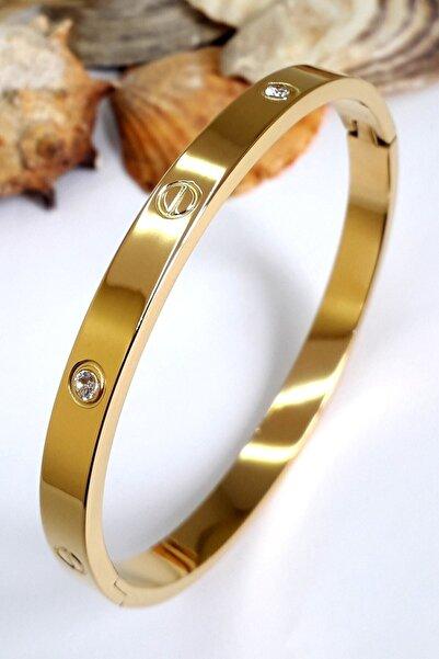X-Lady Accessories Kadın Alaşım Kartier Kelepçe Taşlı Bileklik Gold