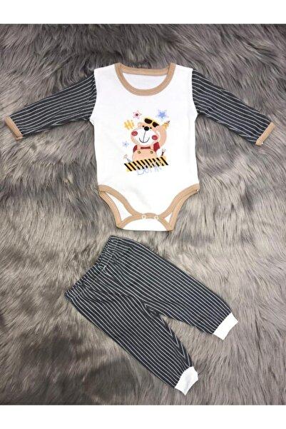 ZERDALİFE Erkek Bebek Siyah Ayıcık Baskı 2li Bebe Takım 001954