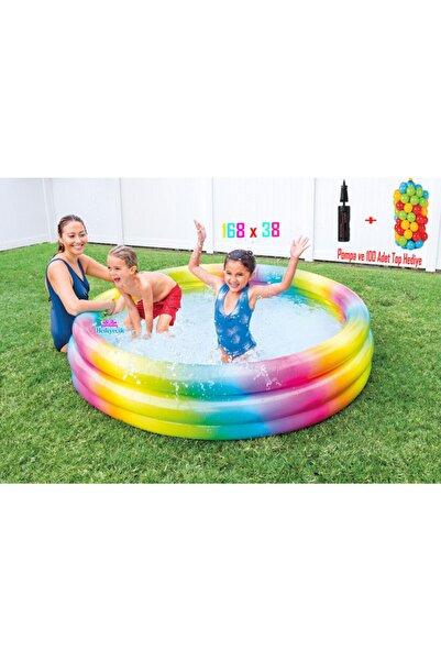 Rainbow 3 Boğumlu Şişme Çocuk Oyun Havuzu 168x38 Cm
