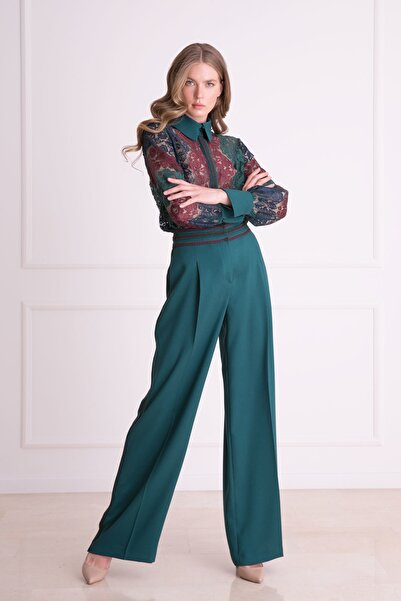 xGIZIA Kadın Yeşil Gömlek Yaka Yeşil Dantel Bluz