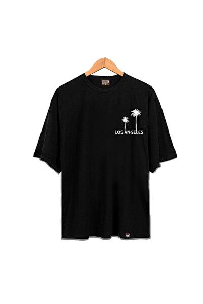Venice Unisex Siyah Los Angeles Oversize T-Shirt