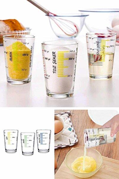 Helen's Home 3'lü Çok Amaçlı Ölçekli Cam Ölçü Bardağı Seti Pratik Ölçek Göstergeli Bardak Seti