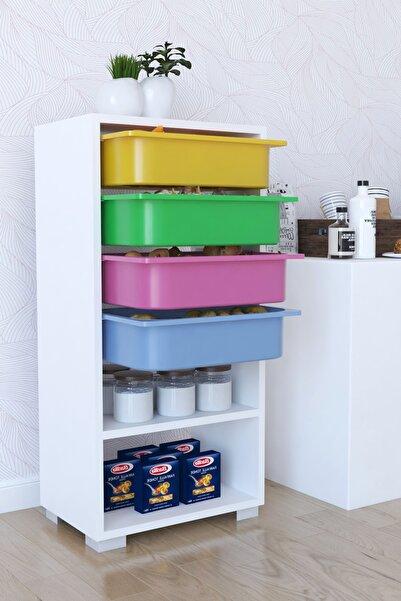 Tedarikcenter Renkli Mutfak Dolabı 4 Sepetli 2 Raflı Çok Amaçlı Dolap Çekmeceli Dolap