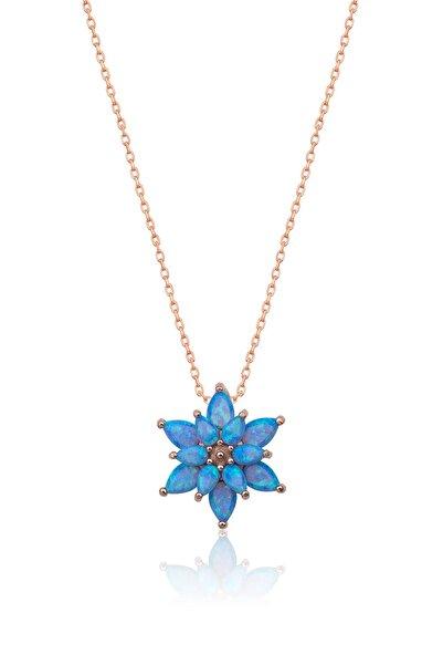 Papatya Silver 925 Ayar Açık Mavi Opal Taşlı Gümüş Lotus Kolye