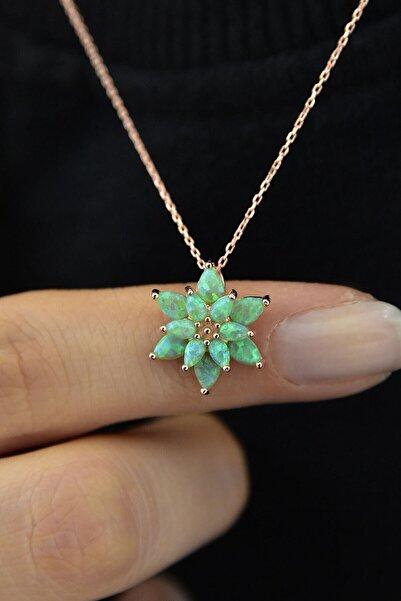 Papatya Silver Kadın Yeşil Opal Taşlı Lotus Gümüş Kolye