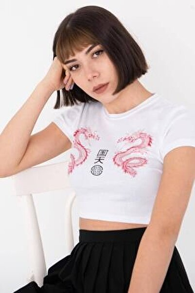 Kadın Beyaz Baskılı Kısa T-Shirt P1020 - L10 Adx-0000022701