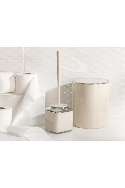 English Home Elegance Kristal 2'li Banyo Takımı 19x21,5 Cm+10x10x37 Cm Bej