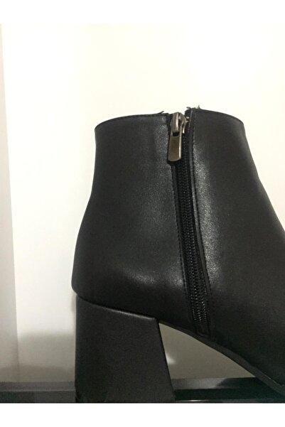 GERDA BUTİK Kadın Siyah Topuklu Buti Bot