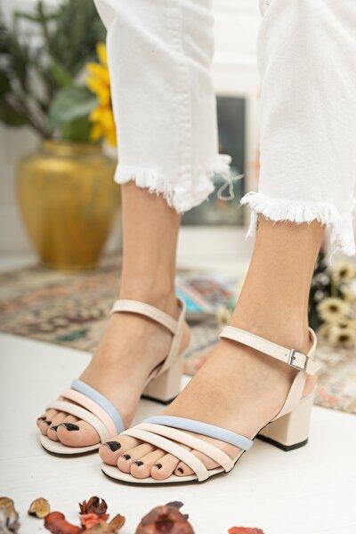 MUGGO Kadın Bej Topuklu Ayakkabı