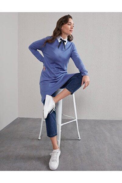 Kayra Basic Sıfır Yaka Triko Tunik Mavi Sz Trk41