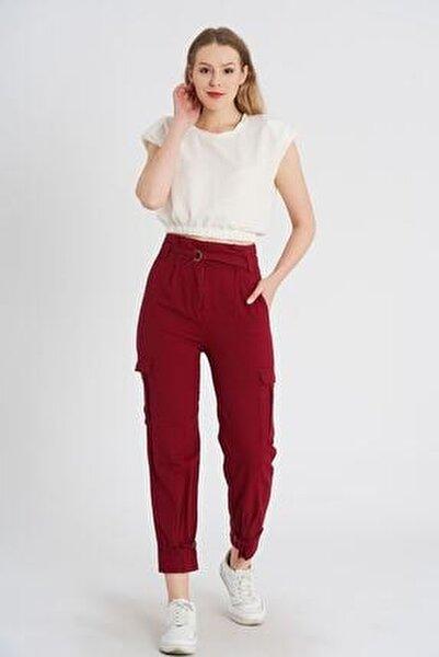 Kadın Bordo Paçası Tokalı Gabardin Pantolon K-3753