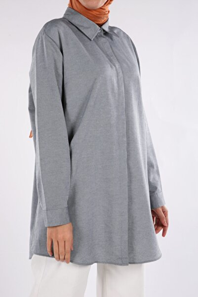 ALLDAY Gri Büyük Beden Gömlek Tunik