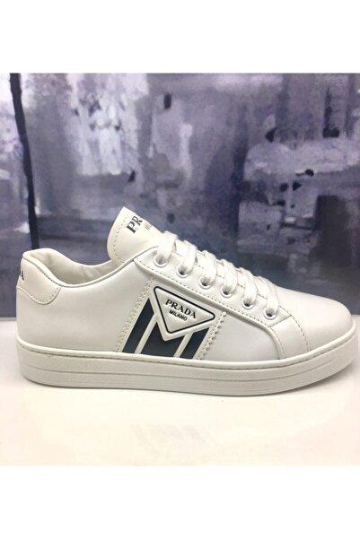 Prada Kadın Beyaz Deri Sneaker