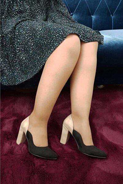 TREND Kadın Siyah Bej Topuklu Ayakkabı