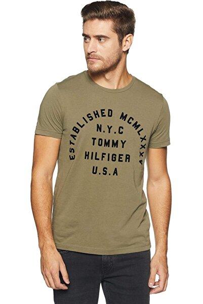 Tommy Hilfiger Estaplished Velvet Print Logo Men T-shirt- Erkek T-shirt
