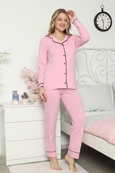 ASL Kadın Pembe Renk Pamuklu Pijama Takımı