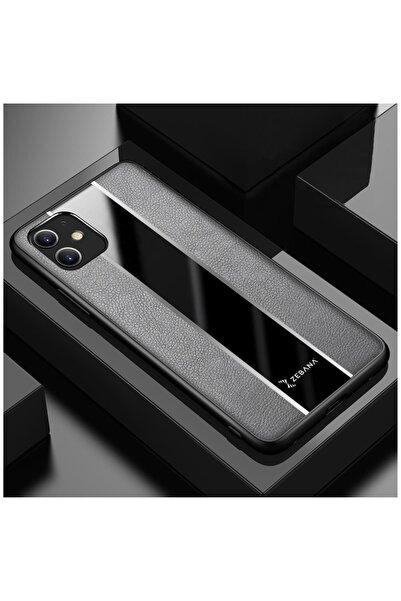 Dara Aksesuar Iphone 11 Uyumlu Gri Deri Telefon Kılıfı