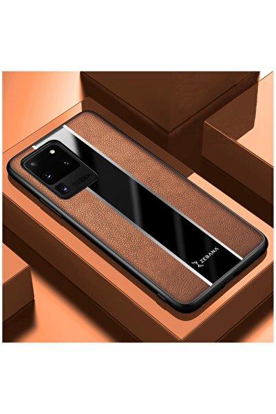 Dara Aksesuar Samsung Galaxy S20 Ultra Uyumlu Kahverengi Deri Telefon Kılıfı