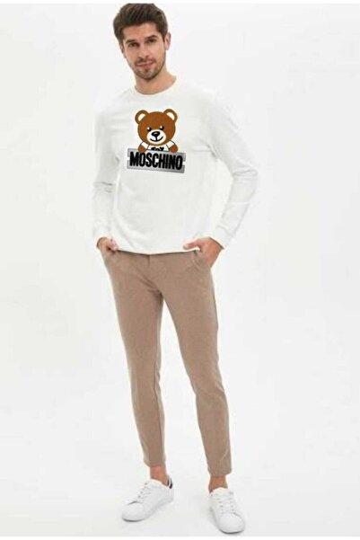 Moschino Erkek Beyaz Ayıcık Dokuma Baskı Sweatshirt