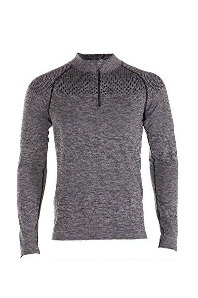 MioFit Ultimate Half Zip Hoodie Erkek Spor Uzun Kollu Gri Tişört