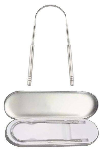 QAX Saklama Kutulu Dil Sıyırıcı Temizleme Dil Temizleyici Gümüş Hilal Çelik Metal Paslanmaz Çelik