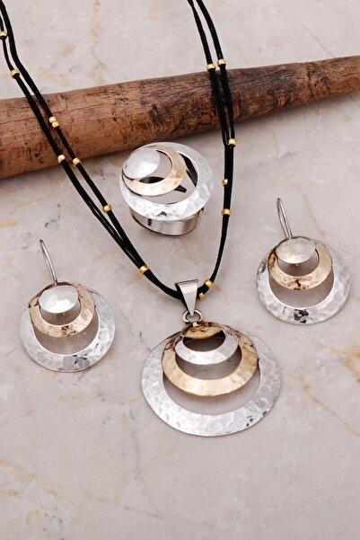 Sümer Telkari Dövme Elişi Halka Tasarım Gümüş Set 2156