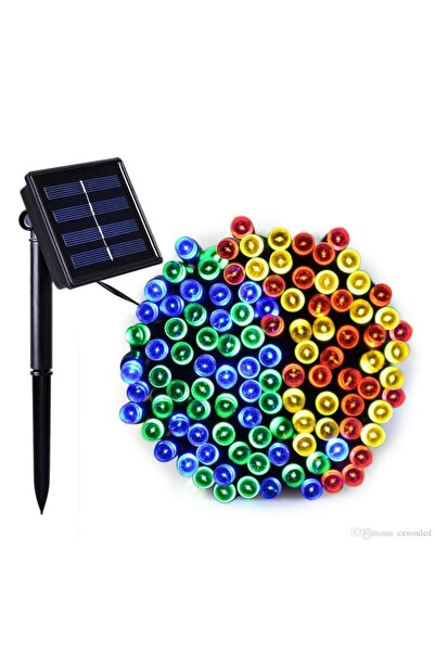 SGE TEKNOLOJİ Güneş Enerjili 100 Led 12 Metre Rgb Çok Renkli Bahçe Aydınlatması Led Işık
