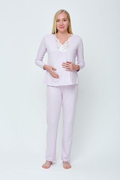 Motherway Kadın Lila Hamile Emzirme Pijama Takım