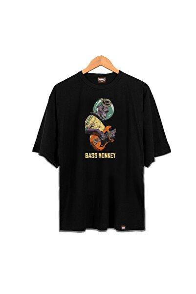 Venice Unisex Siyah Bass Monkey Oversize T-shirt