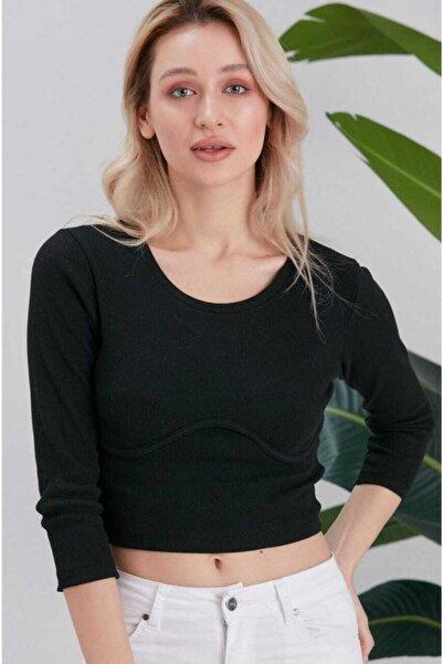 Beeberry Kadın Siyah Göğüs Kavisli Crop Top