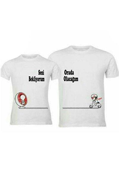 HediyeMania Sevgili Tişörtleri Bay Bayan Çift Kombini Seni Bekliyorum Orada Olacağım Tişört 2 Adet