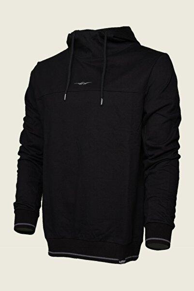 Bessa Sport Unisex Siyah Kapüşonlu Yüksek Yaka Kol Üzeri Garnili Pamuklu Sweatshirt