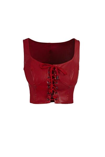 Keikei Kadın Kırmızı Deri Kolsuz Crop Top21