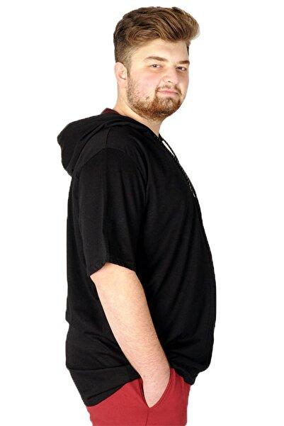 ModeXL Büyük Beden Tshirt Bisiklet Yaka Kapşon Basic 21115 Siyah