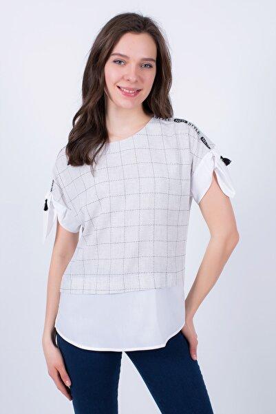 Cliche Kadın, Gri Ekose Kumaşa Düz Beyaz Garnili,omuz Başı Şerit Detaylı Bluz