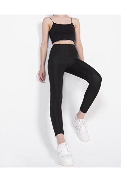 Barpo Giyim Kadın Siyah Disko Yüksek Bel Toparlayıcı Günlük Spor Şık Rahat Push Up Slim Fit Parlak Disco Tayt