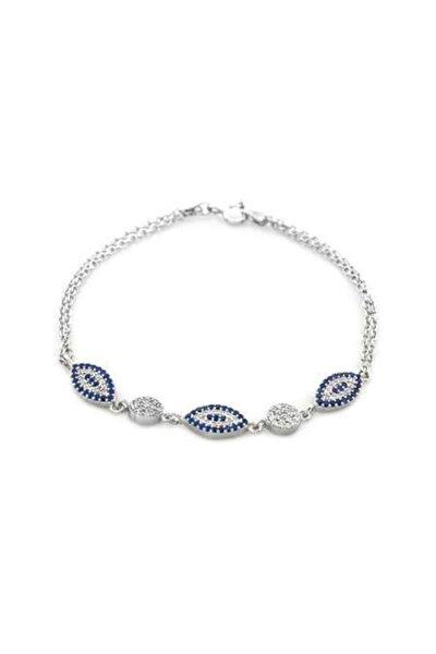 Tesbihane Mavi-beyaz Zirkon Taşlı Oval Tasarım 925 Ayar Gümüş Su Yolu Kadın Bileklik