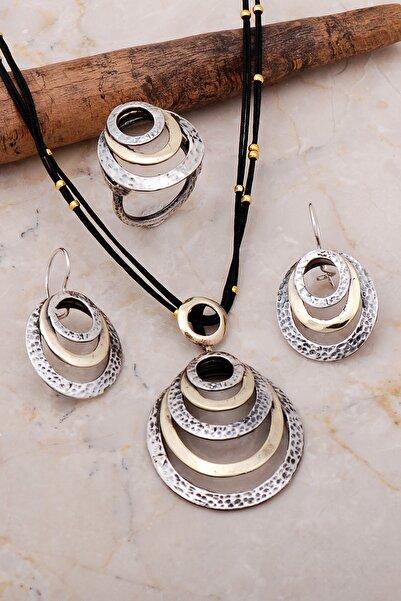 Sümer Telkari Dövme Elişi Tasarım Gümüş Halka Set 2157