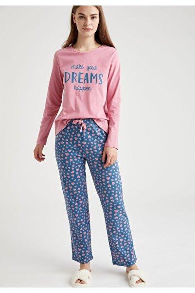 DeFacto Yazı Baskılı Uzun Kollu Pijama Takımı