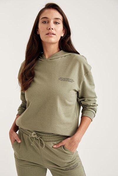 DeFacto Organik Pamuklu Yazı Baskılı Kapüşonlu Sweatshirt