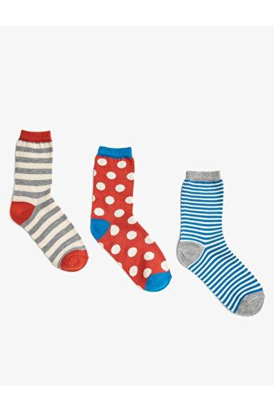 Koton Kadın Kırmızı Puantiyeli Desenli Pamuklu 3'lü Çorap Seti