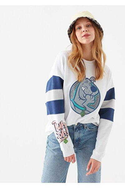 Mavi Kadın Beyaz Scooby Doo Baskılı  Sweatshirt