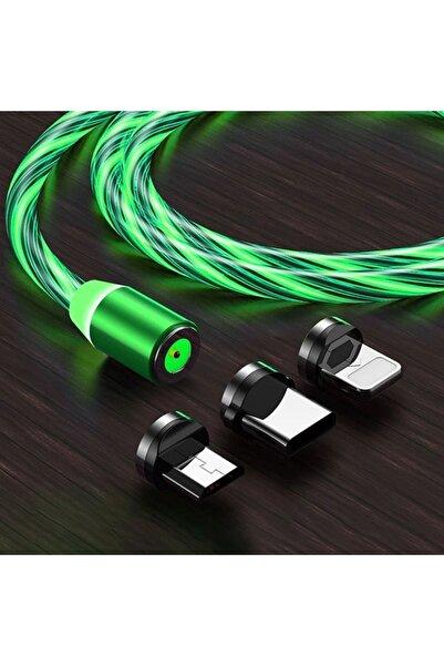 Suba Manyetik Mıknatıslı Hareketli Işıklı 3 Uçlu Yeşil Renkli Kablo