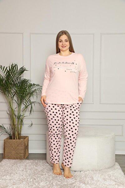 SEBOTEKS Kadın Pembe Büyük Beden İnce Penye Pijama Takımı 30104