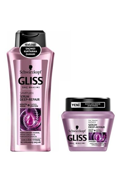 SCHWARZKOPF HAIR MASCARA Gliss Serum Deep Repair Şampuan 400ml+maske 300ml