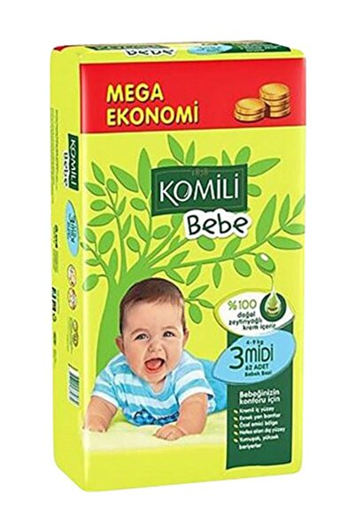 Komili Bebe 3 Beden (4-9 Kg) 72 Adet Bebek Bezi