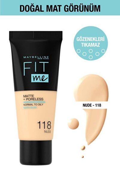 Maybelline New York Fit Me Matte+poreless Fondöten - 118 Nude