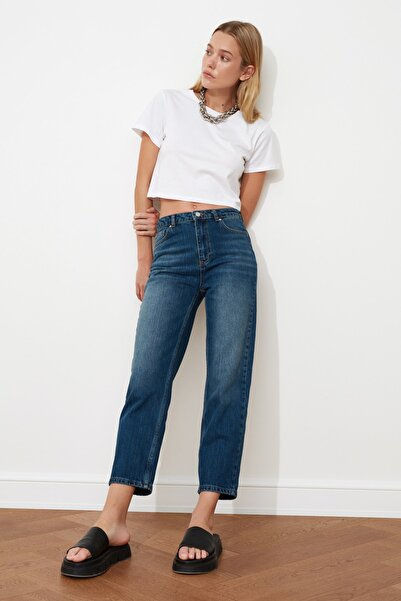 TRENDYOLMİLLA Indigo Yüksek Bel Dar Straight Jeans TWOSS21JE0027