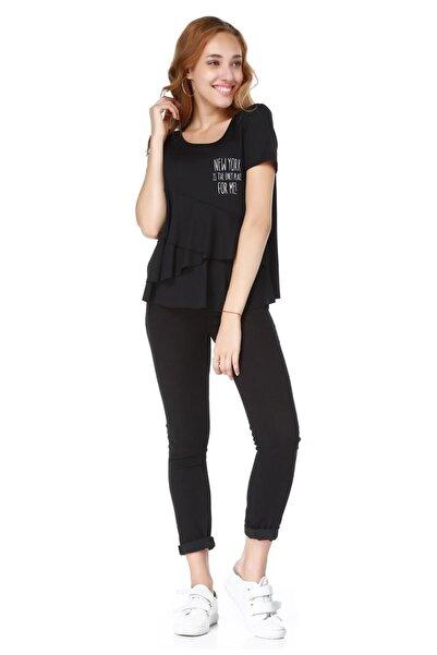 BSL Kadın Siyah Kısa Kollu T-Shirt
