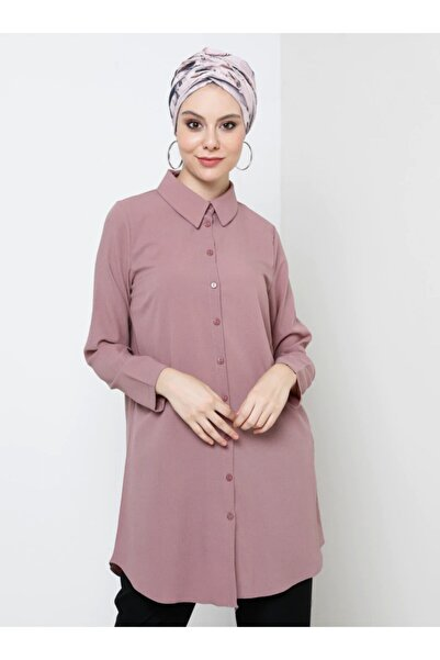 Tavin Kadın Gül Kurusu Düğmeli Gömlek Tunik